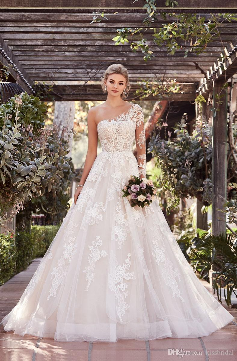 Discount One Shoulder Wedding Dresses 2019 A Lineillusion Sleeve