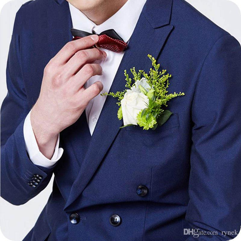 Navy Blue Men Suits Costume Homme Custom Groom Tuxedos for Wedding Double Breasted 2piece Evening Party Handsome Groomsmen Jacket Pants