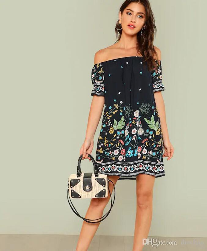 2019 Famous Fashion Designer Europe And The United States Spring And Summer New Womens Word Collar Wrapped Chest Dress Printed Beach Skirt Summer Cocktail Dresses Dress Clothes From Diechao 20 11 Dhgate Com