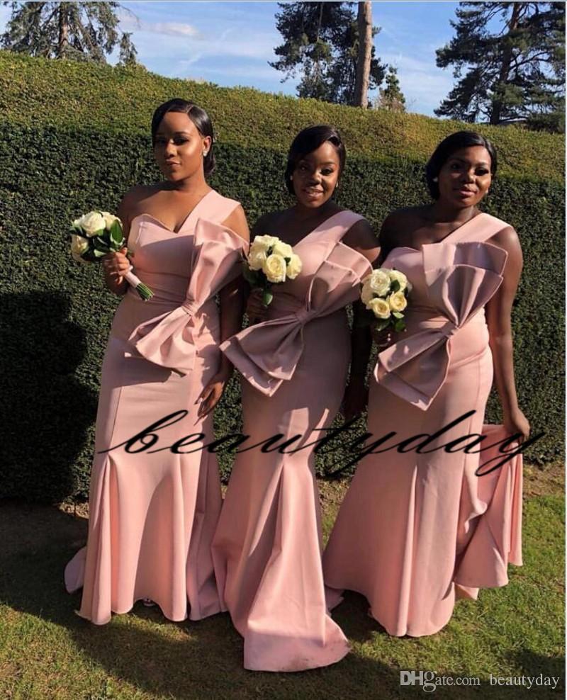 Платья подружки невесты Уникальный дизайн Розовый 2019 Новый большой лук на одно плечо длиной до лодыжки Атласные свадебные платья для гостей Юное платье для подружки невесты