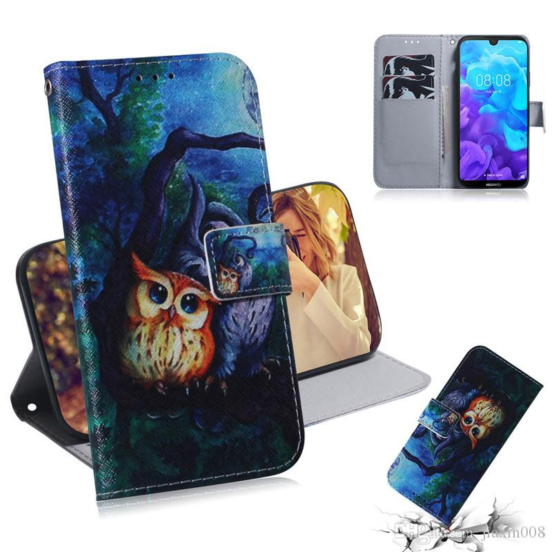Wallet Case For Huawei Y5 2019/Honor 8S Filp Cover Hot selling Coloured pattern Wolf tiger lion Owl Dog With Card Slot Design