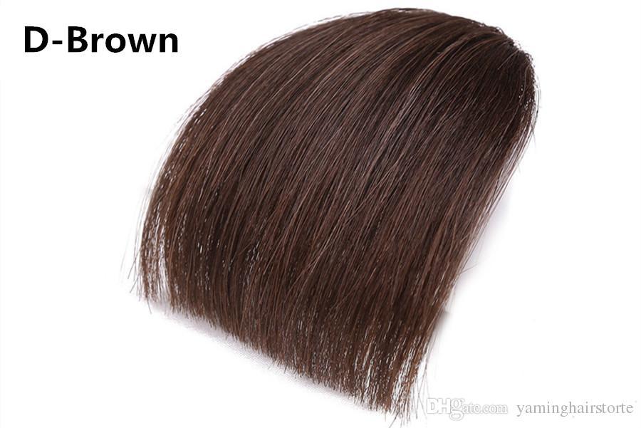 nero / marrone dritto Front Neat Blunt Bangs Clip In One Piece vera naturale posticci estensioni dei capelli sintetici