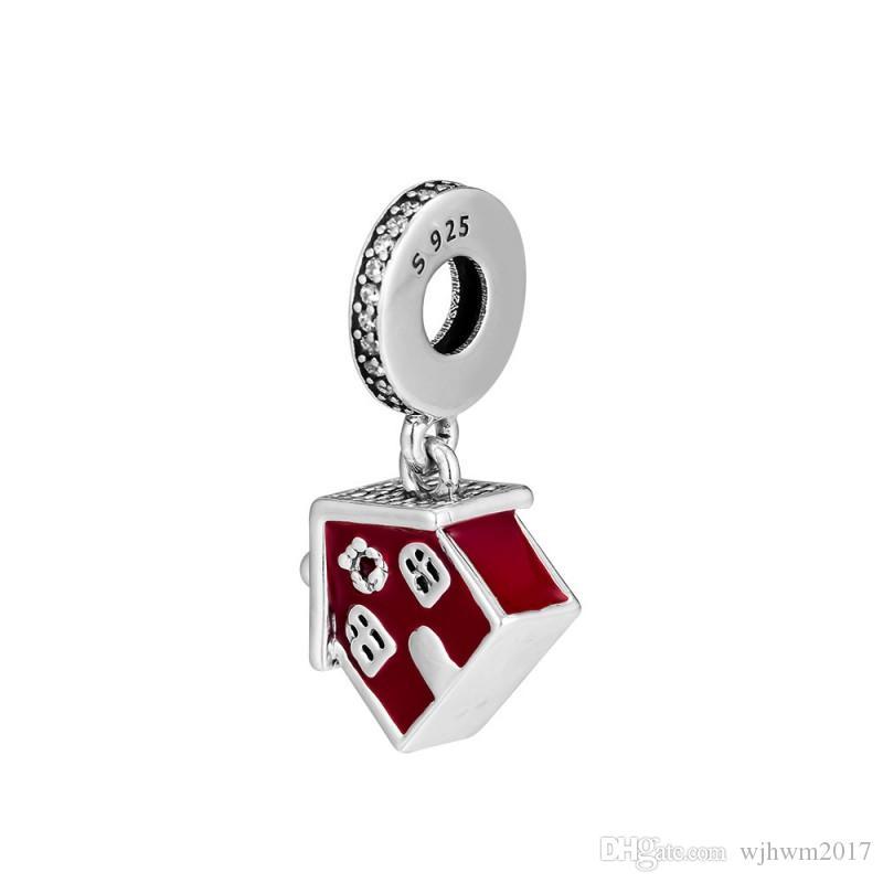 Nuevo Real 925 Sterling Silver Charm Trox Esmalte Casa de Navidad acogedora con cristal Cuelga Charm Colgante Beads Fit Brand Bracelet DIY Jewelry