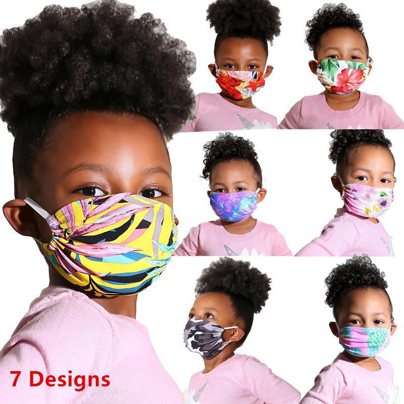 أطفال لطيف قناع الوجه الأطفال الطفل فاخر مصمم قابل للغسل القطن الكرتون قناع الوجه الزهور طباعة الغبار واقية قناع 10PCS