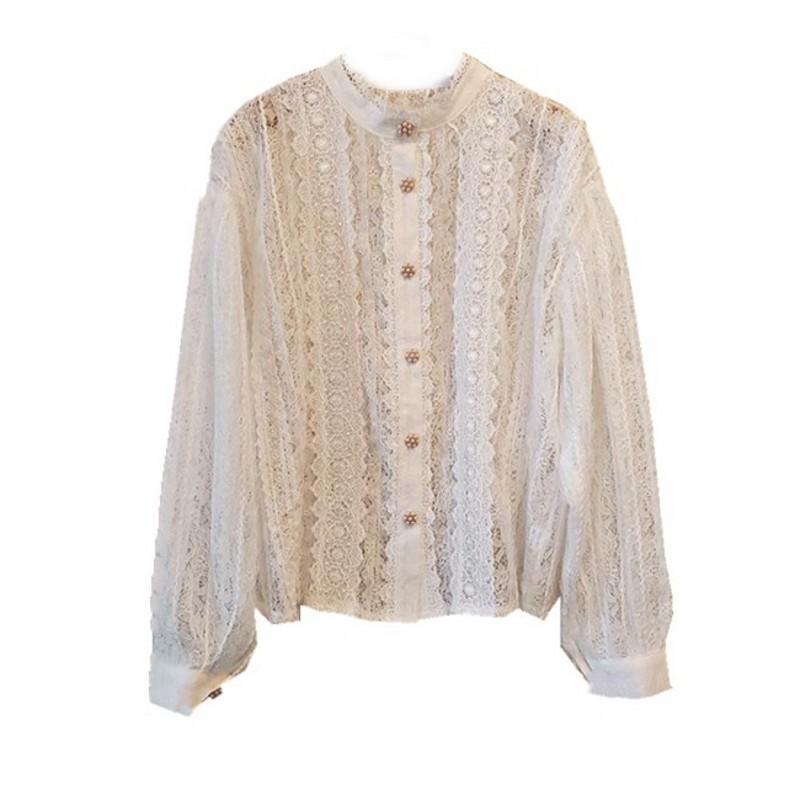 New arrival Runway self portrait Hollow Out Lace Shirt Women mesh Beading buttons Elegant vintage luxury female Blouse Top