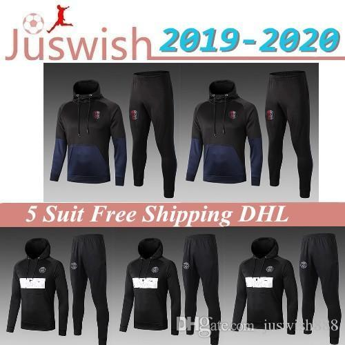 2019 2020 Paris Soccer Zipper Hooded Olympique Marseille Long Sleeve Jacket Coat 19 20 PSG AJ Winter Sports Football Hooded Jacket Mayorista