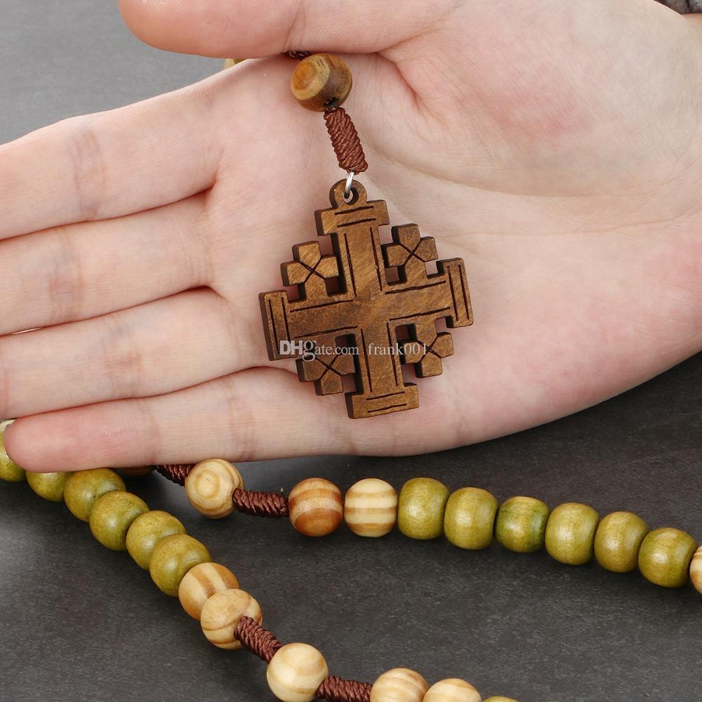 Kadınlar Bildirimi Takı Allah için Anne Dini hediyeler Antik Ahşap Kudüs Çapraz Kolye Kolye Tesbih kolye seni korusun