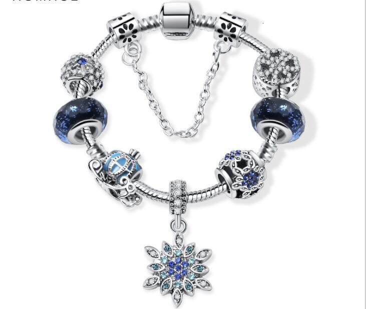 Perles de charme Ajustez pour Pandora Bijoux 925 Bracelets en argent Snowflake Pendentif Bracelet Bleu Sky Pumpkin Panier Charms DIY Bijoux avec boîte-cadeau