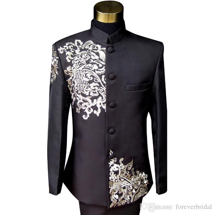 Satin Handmade Embroidery Groom Tuxedos Black Mens Designer Formal Suits Wedding Prom Party Man Blazer (Jacket+Pant)