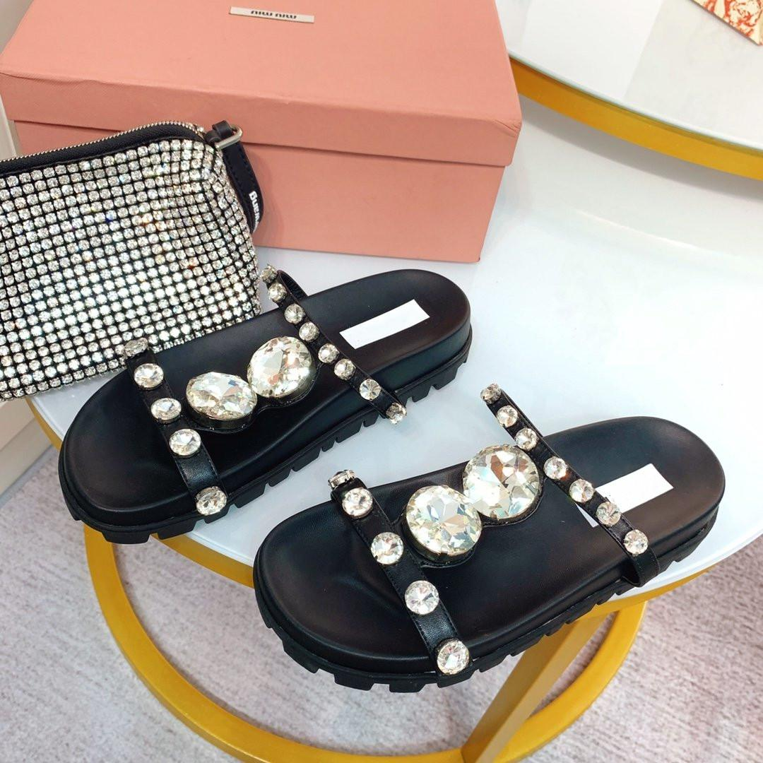 2020 yaz yeni stil yüksek kaliteli kadın Swarovski yuvarlak kristal elmas toka kakmalı üst terlik sandalet 105557