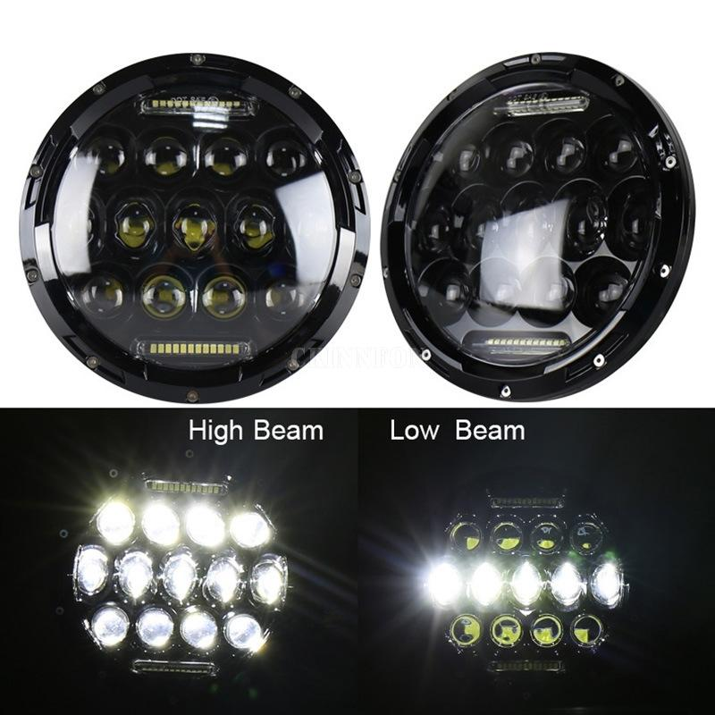 10Pcs/Lot 75W 7'' Led Headlight H4 High Low Beam Round Cars Running Lights for Motorcycle Jeep Lada Niva 4x4
