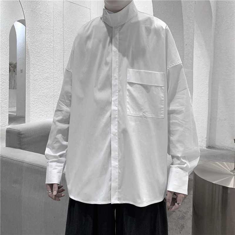 T-Shirts für Herren-Oberteile zuknöpfen Kleid Shirts mit Taschen in Übergröße Designer Street Chemise Homme Manche Longue