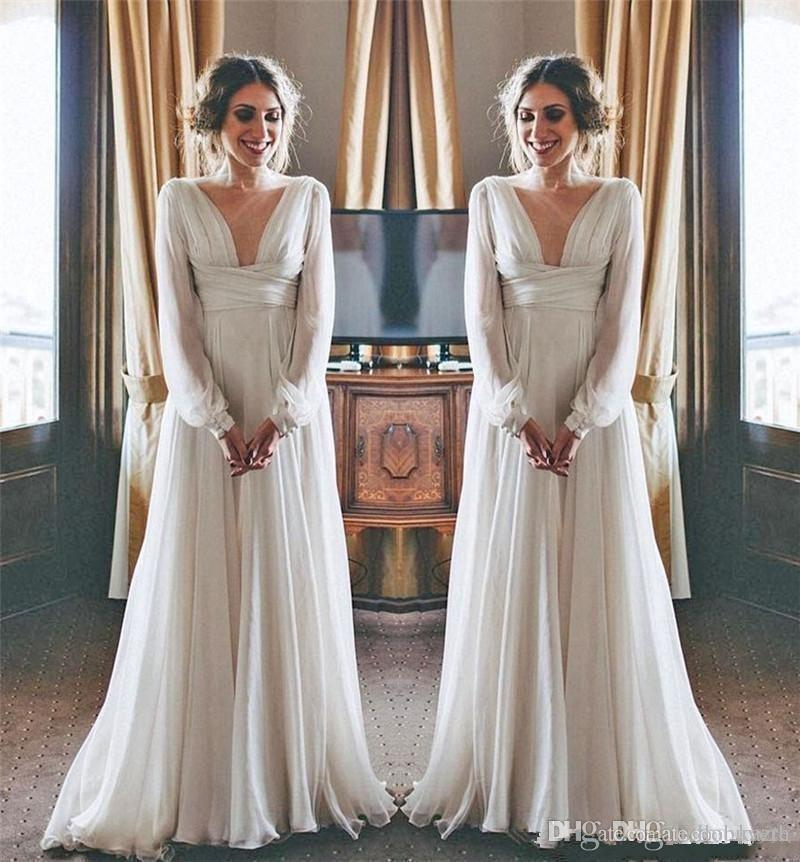 A Line Modest Boho Beach Wedding Dresses 2019 Long Sleeves V Neck Plus Size Chiffon Cheap Summer Maternity Country Greek Style Bridal Gowns