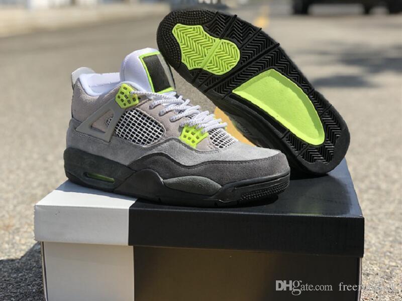Excelente Calidad 4 Gris frío voltios lobo gris antracita atlético de los zapatos de diseño de moda de neón Confort IV Chaussures formadores vienen con la caja