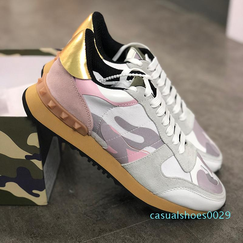 New Rockrunner Camouflage shoes mens luxury designer sneaker Genuine Leather Mens Women Flats casual trainers size 35-45 c29