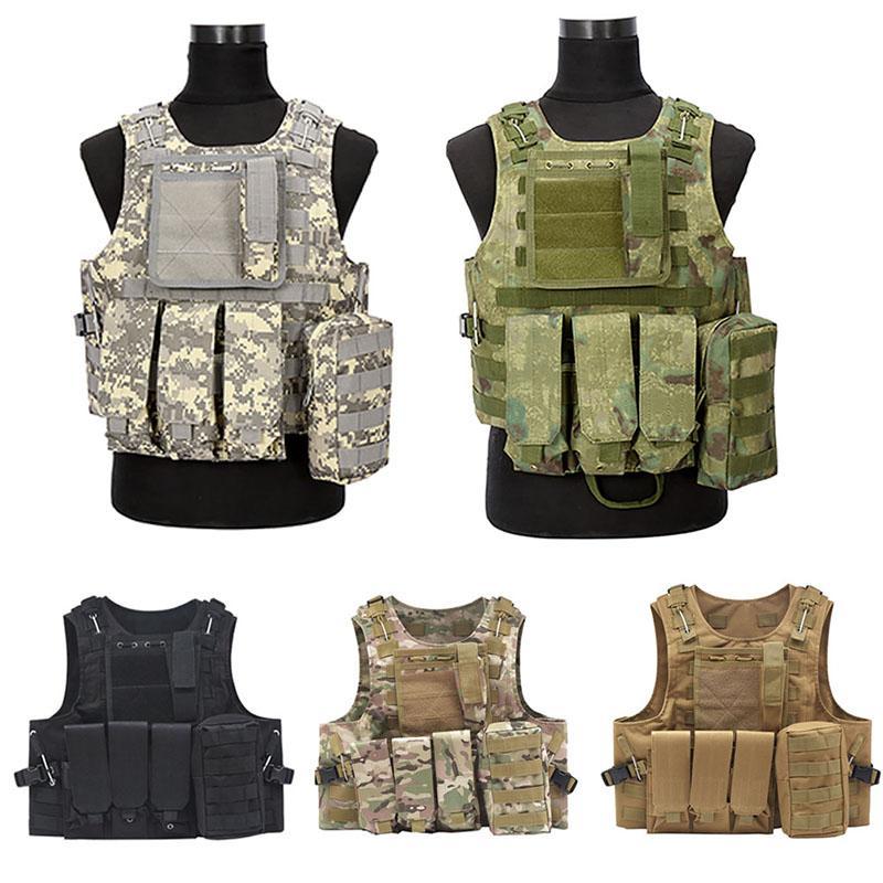 Equipo al aire libre NUEVO camuflaje caza chaleco táctico Wargame Molle Body Armor Caza Chaleco CS con 5 Colorsun