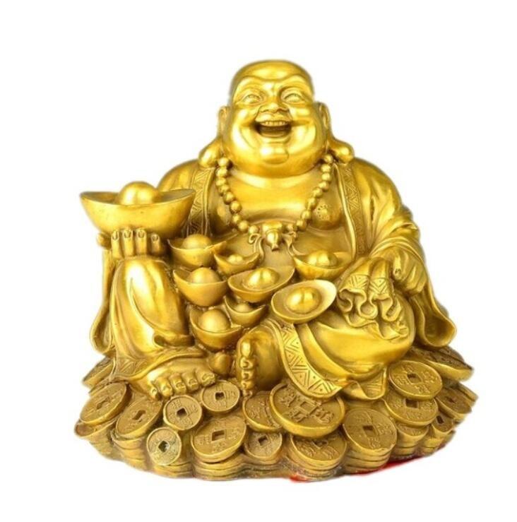 Maitreya cobre Buda Buda oro adornos dinero reír sala de estar feng shui decoración afortunada