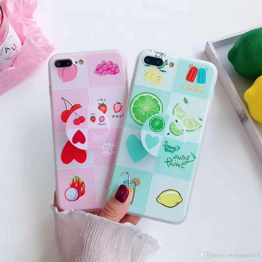 factory price thickness jelly phone case Lovely New Fruit Mount Ring Design Case Cover For Apple iPhone 6 6S 7 8 Plus X