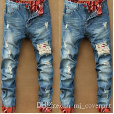 Pantaloni dritti primavera autunno hip hop strappato solido foro jeans pantaloni casual denim retrò design slim fit