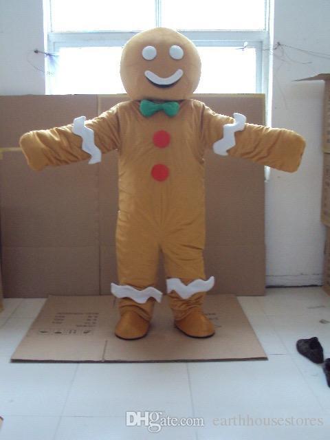 Homem de gengibre Trajes Da Mascote Biscoitos do tema animado bebê Cospaly mascote Dos Desenhos Animados Personagem adulto traje da festa de Halloween Traje Do Carnaval