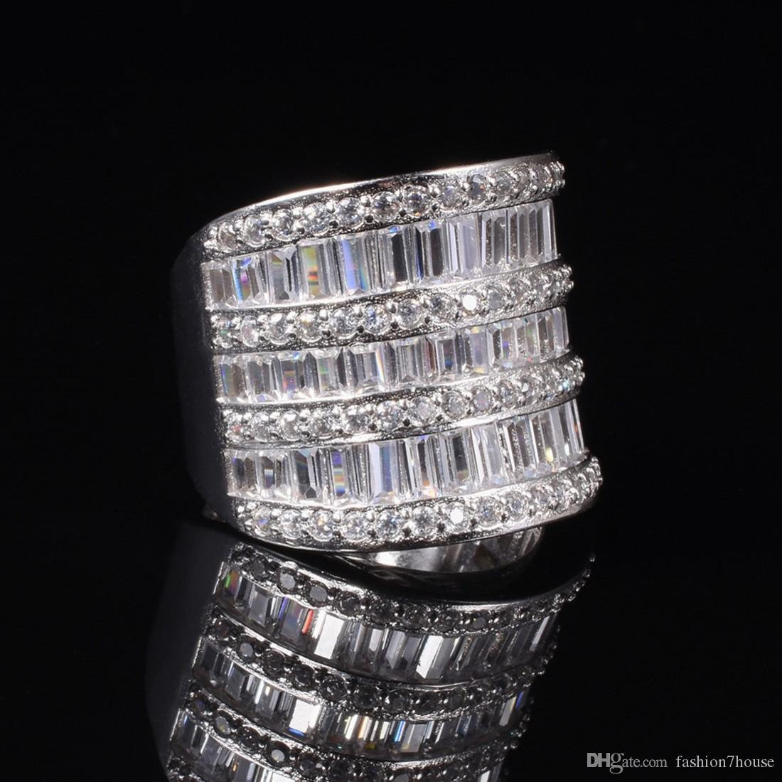 Shine 925 Silber Cocktail Ringe Fingerschmuck Luxus Pflastern gesetztes volles Quadrat T Simulierter Diamant Edelstein Ring für Frauen