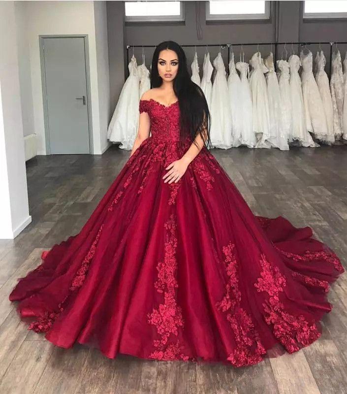 Compre Vestidos De Novia De Color Rojo Vino 2019 Vestidos De Boda De Talla Grande Fuera Del Hombro Vestido De Novia Apliques Vestido De Fiesta De