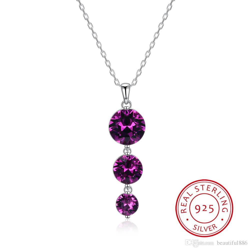 Purple Crystals From Swarovski Element Jewelry S925 Sterling Silver Drop Crystals Jewelry Long Chain Necklace For Women Girls Gifts