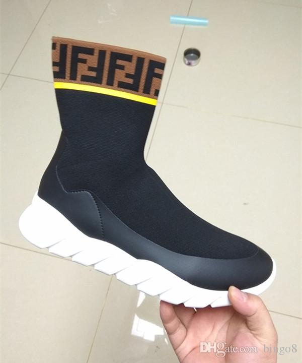 Branded Men Waterproof Stretch Tech Fabric High-tops Sneaker Boots Designer Male Sock Undulating Rubber Sole Shoe