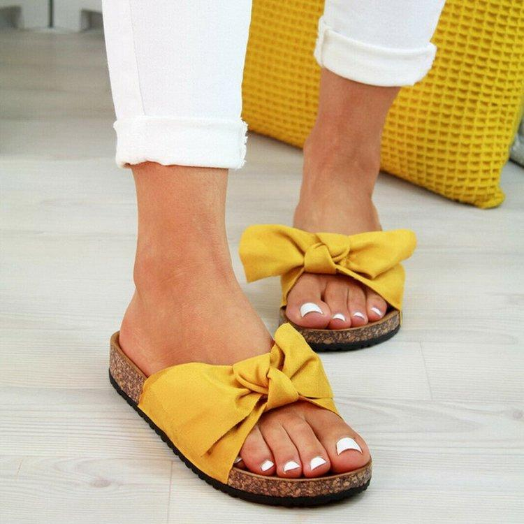 2020 Обувь Женщины Сандалии Женщины Пляжная обувь лук поскользнуться на Гладиатор Сандалии лета женщин Обувь Плоский Женщины Плюс Размер