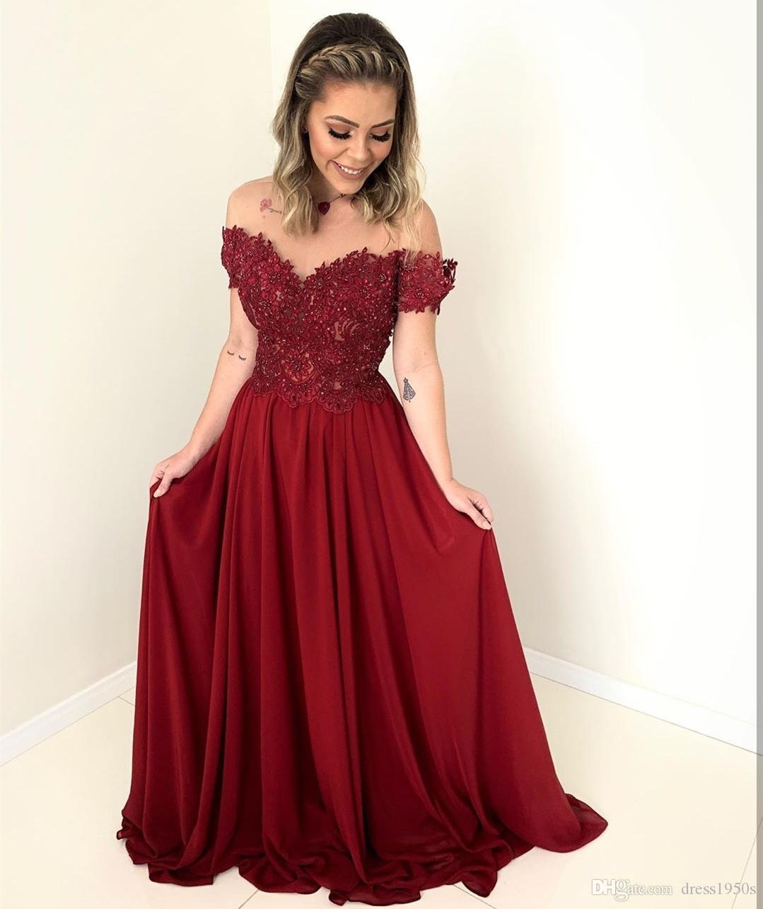 2020 Длинные Пром красное вино с плеча Милая шифон девушки для плюс размер платья женщин с женщинами платья партии Специальным событием
