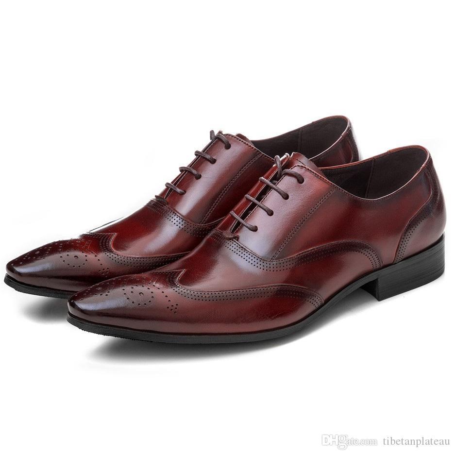 Transpirable Negro / Castaño Tan Oxfords negocio de los zapatos zapatos de boda de cuero genuino zapatos de vestir para hombre