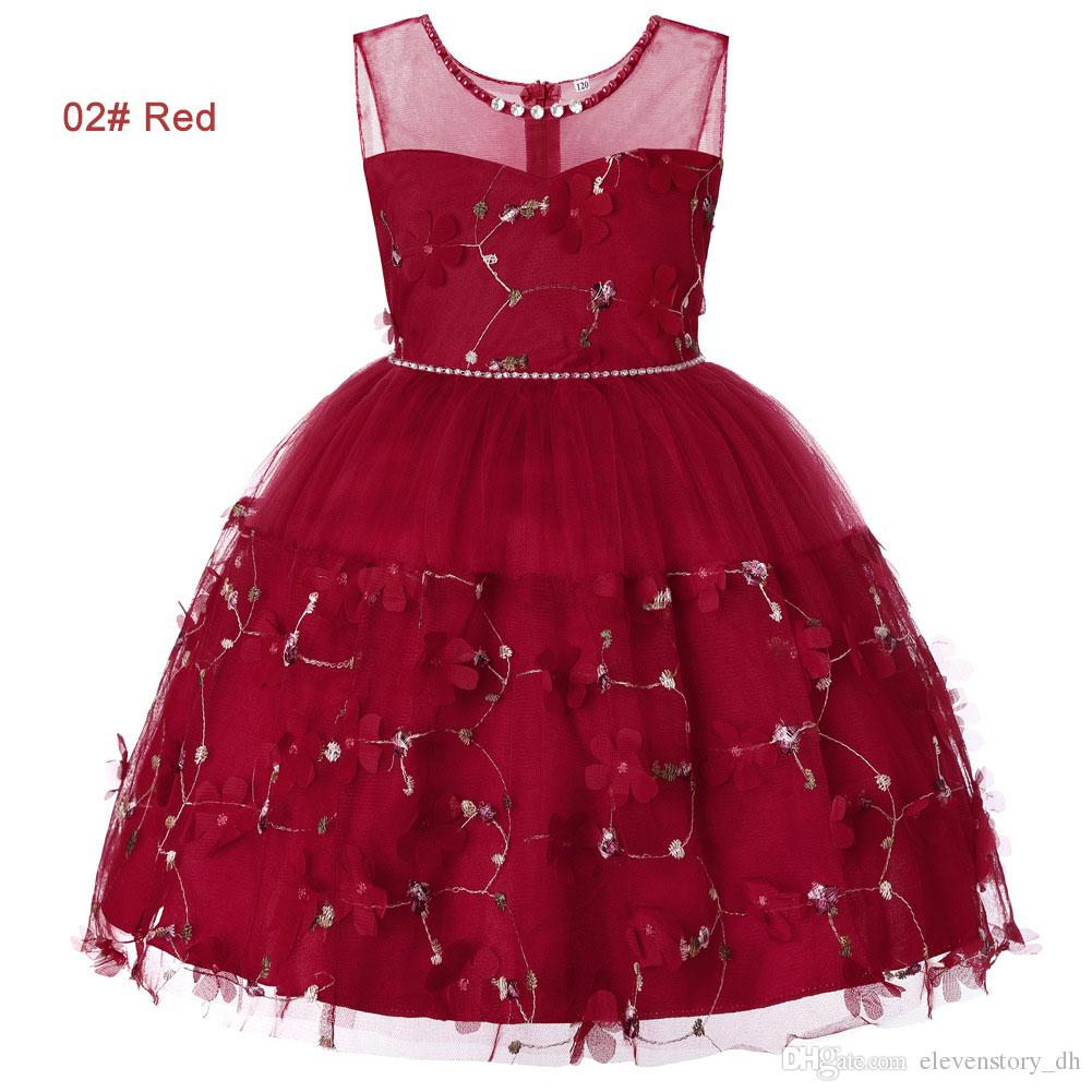 summer 4 to 14 years Girls Rhinestone pearls tutu dress, pink/red/purple/green/blue, kids & teenager boutique tulle clothes, R1AAX808DS-06