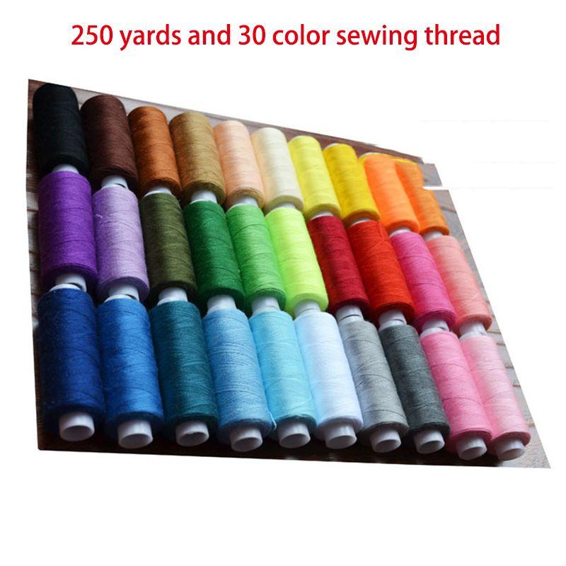 30pcs 250 yardas de hilo de coser de poliéster bordado de la máquina de coser a mano Temas en el volante arte de DIY Patch Suministros