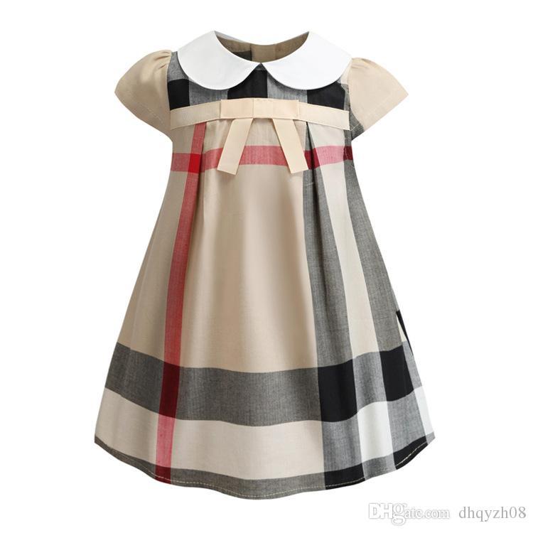 Baby girls dress children bowknot fashion short sleeve princess dresses 2019 summer Boutique kids Clothes Pure cotton fabrics design The