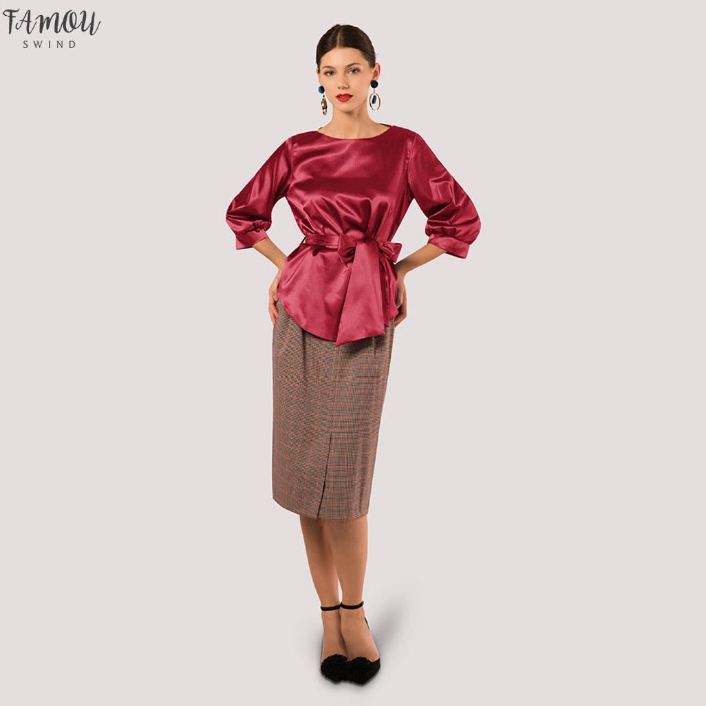 Шею Сатин Дизайн Блузка С Бантом Неровные Половины Рукав Рубашки Женщины Топы Свободного Покроя Туника Tunique Роковой*