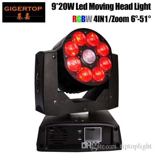Neueste angekommen 200W LED Moving Head Zoom Licht 9 x 20W RGBW 4IN1 LED DMX512 Control Disco DJ-Partei-Verein Mit Sound / Auto-Programm