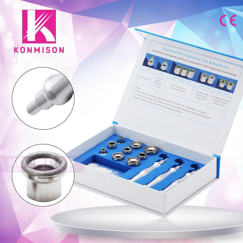 2020 caliente venta microdermoabrasión diamante Consejos Con 3pcs dermoabrasión varitas y 9 Consejos para estiramiento de la piel eliminación de arrugas