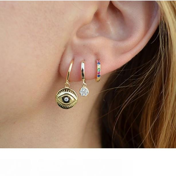 Dangle evil eye Coin earring Gold plated lucky girl women classic turkish evil eye jewelry