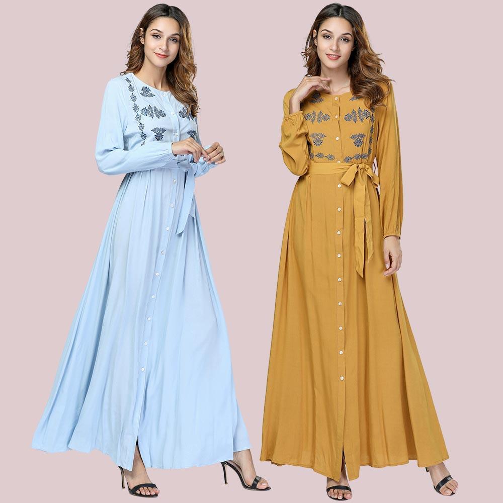 Dubai abaya per le donne Vestito Giallo musulmana caftano turco arabo Abbigliamento islamico a manica lunga Bangladesh Robe Abiti fasciatura