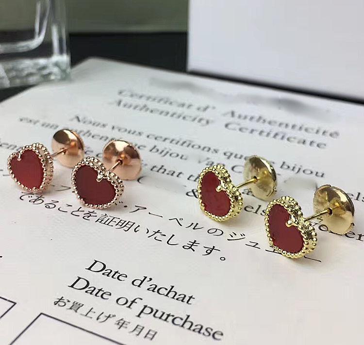 여성 결혼 선물 PS에 대한 붉은 마노 심장 세트 패션 브랜드 귀걸이와 목걸이와 팔찌 세트 보석과 귀걸이 S925 실버 스터드
