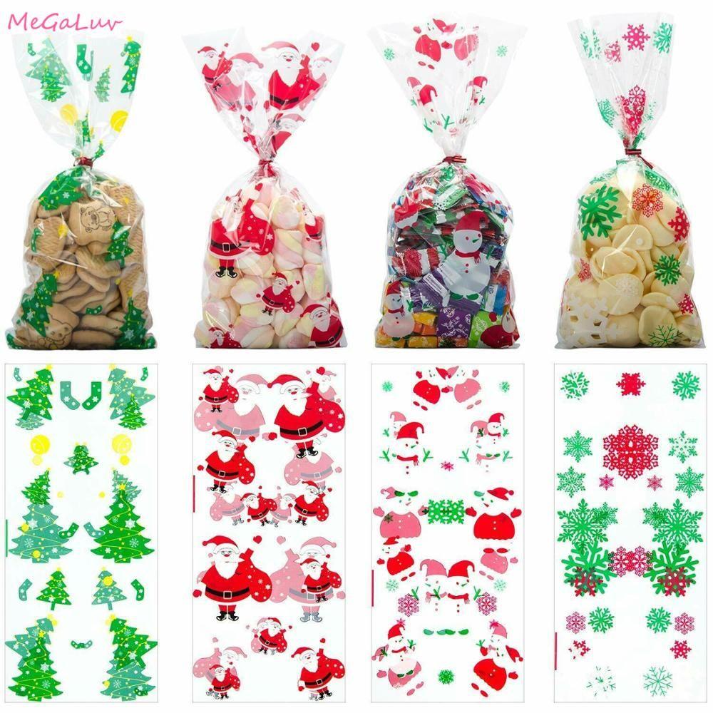 50pcs / set 2020 presente de ano novo Bolsas 11x5inch Limpar Doce Pattern Bags Snowman Party Cookies Festival Querida Suprimentos