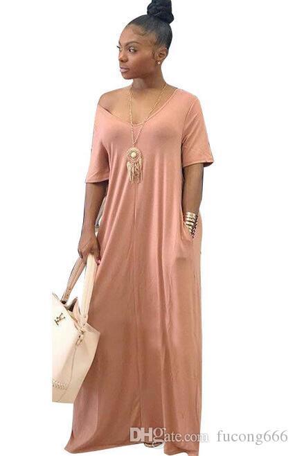 Das neue Explosionskleid für Damen mit V-Ausschnitt Einfarbig locker Schulter kurzärmliges Kleid casual Kleid Großes Kleid für Frauen m1