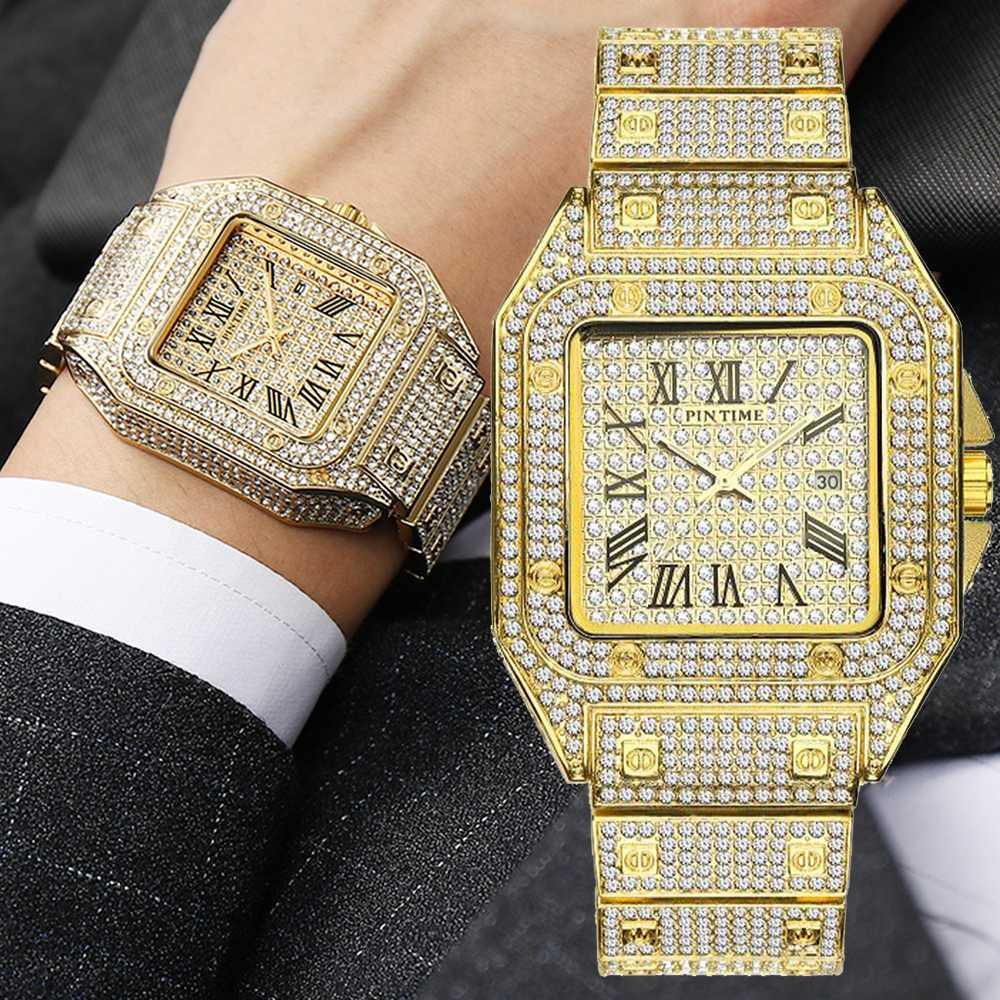 Praça Diamante Men Watch ouro para fora congelado Assista Big Dial Quartz Negócios pulso Hip Hop Masculino Relógio Relógio Masculino