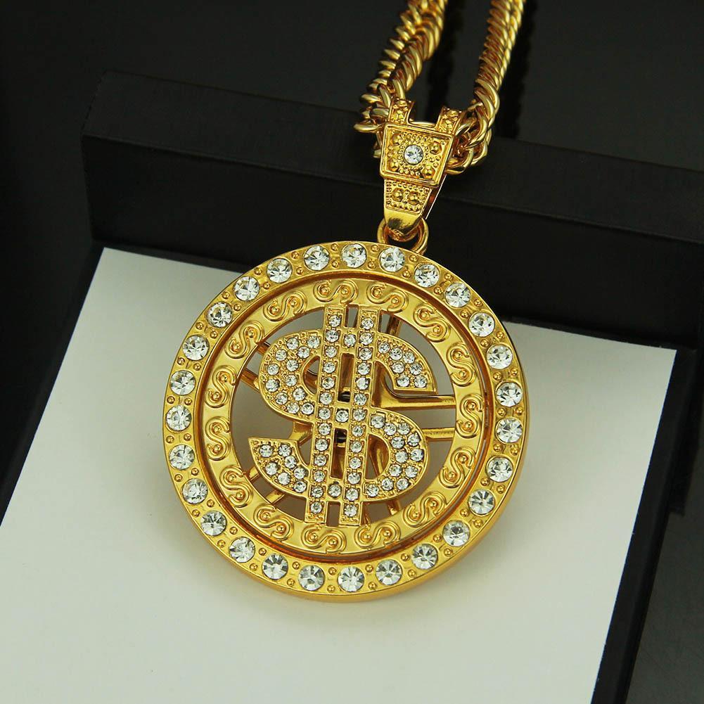 Ücretsiz nakliye 14K altın moda takı Hip hop kolye kolye kolye kadın dolarlık kolye erkekler zincir takılar, 1PZ