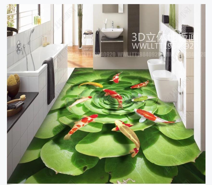 Custom 3D self-adhesive floor mural wallpaper interior decoration Succulent nine fish picture lotus pond water pattern 3D bathroom floor