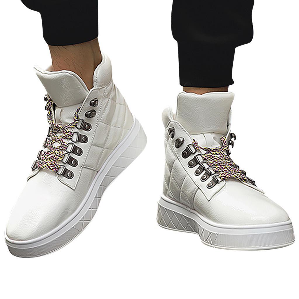 Selvaggio Colore Alta Boots Leopard Lace Boots cucire scarpe primavera e l'autunno di cuoio da uomo-High Top