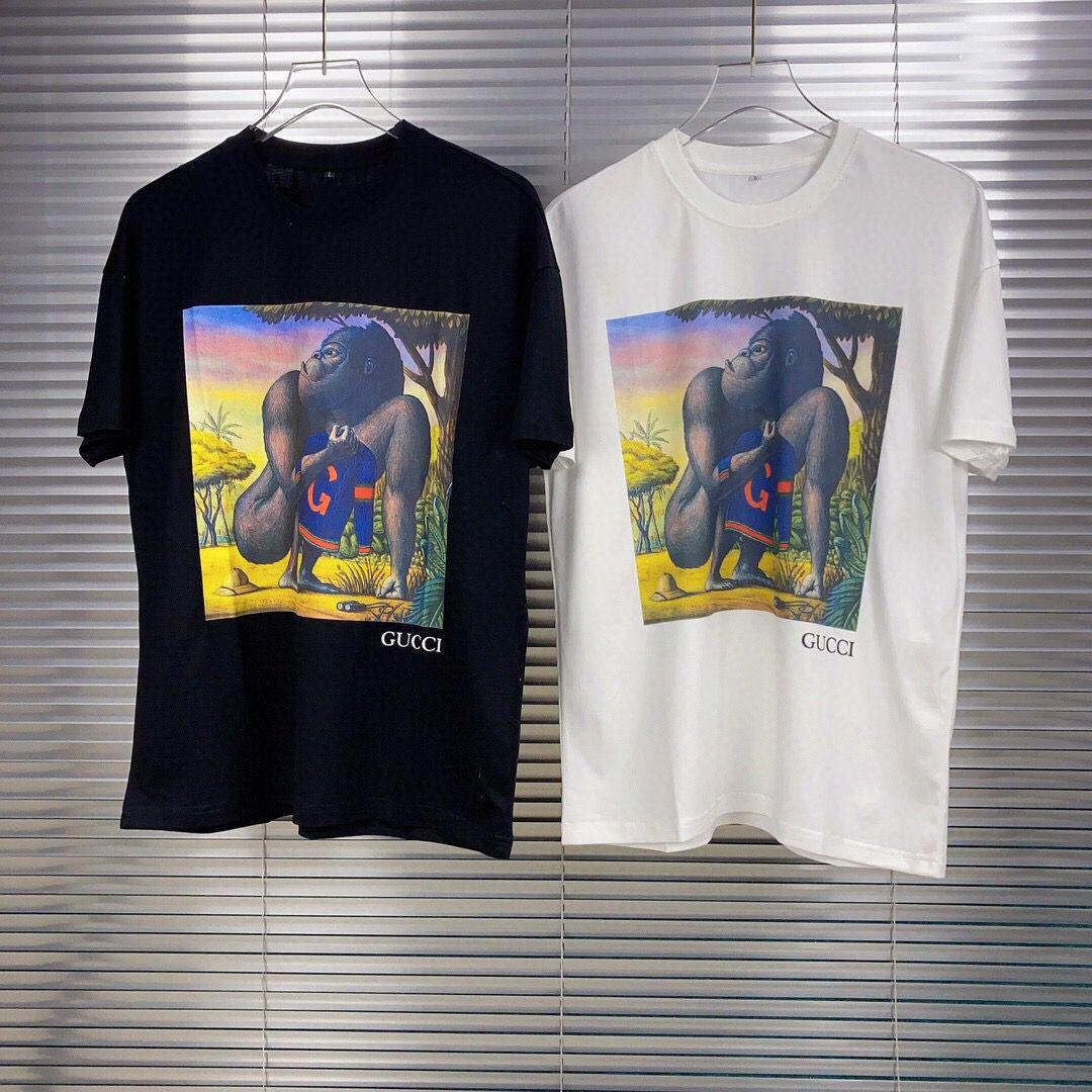 2020 Primavera e verão a forma dos homens T-shirt carta do bordado t-shirt dos homens e de manga curta T-shirt Casual top preto S-XXL ZP034 das mulheres
