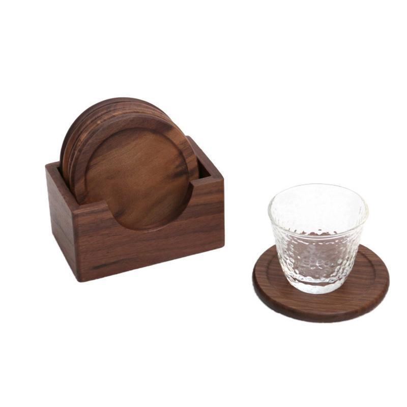 6PCS Wooden Walnut Coasters Set Round Wooden Coffee Cup Pad Dining Table Potholder Simple Desktop Tableware Mat Kitchen Tool