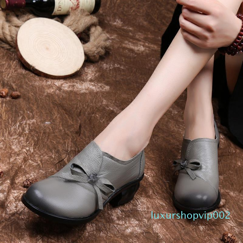 GKTINOO Mode Automne Printemps Mocassins 100% Cuir véritable Chaussures simples souples Chaussures plates Casual Femmes Flats chaussures mère