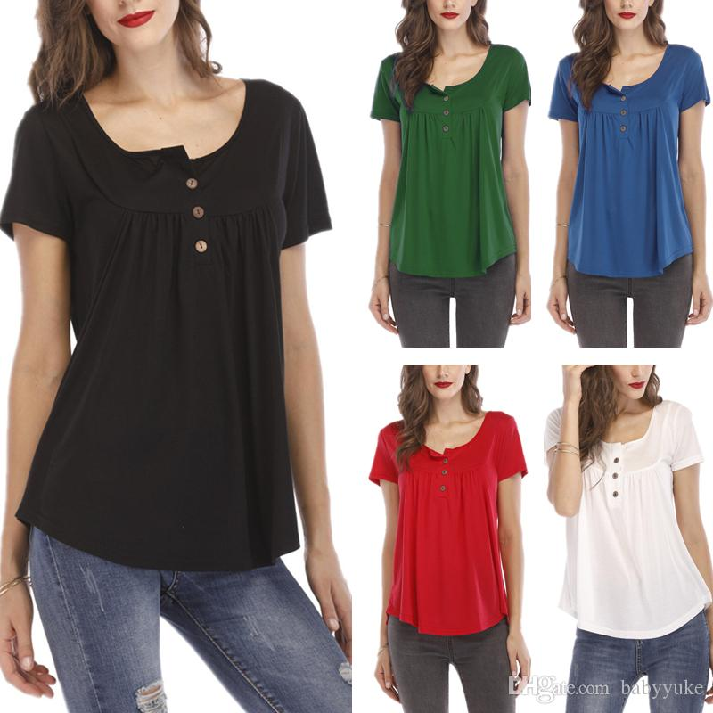 Cheap loose short-sleeved T-shirt top Large size S-5XL Summer clothes Tees T-Shirt Women's Best selling pleated button 219